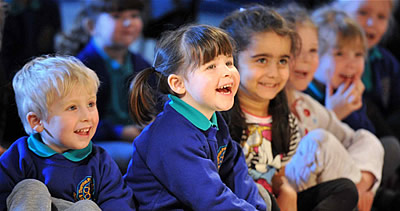 Primary school chiildren enjoying the show. Photo by Roger Moody